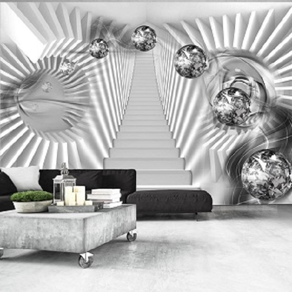 Silver Stairs Wallpaper Mural Wallpaper Murals 3d Wallpaper