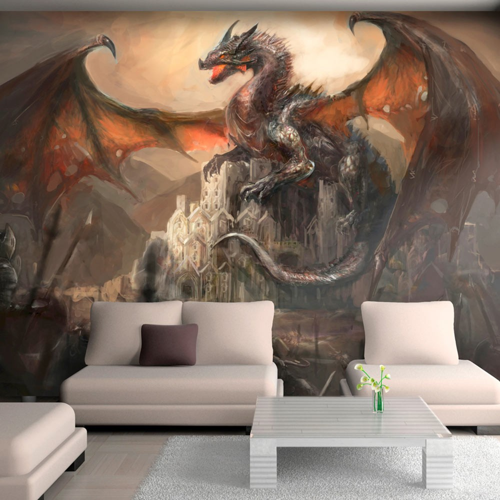 wallpaper dragon castle 3d wallpaper murals uk. Black Bedroom Furniture Sets. Home Design Ideas
