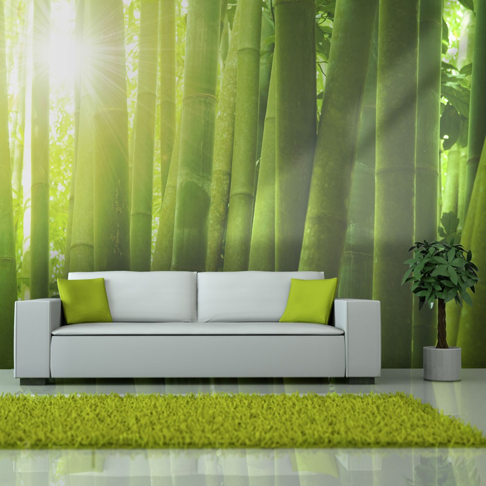 Wallpaper sun and bamboo 3d wallpaper murals uk for Bamboo mural wallpaper