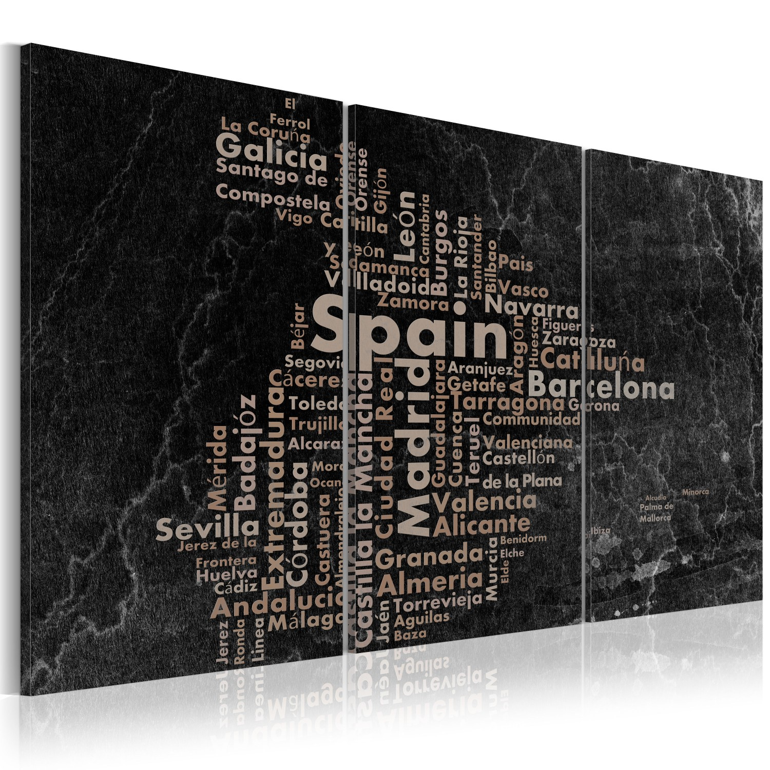 Map Of Spain For Printing.Canvas Print Map Of Spain On The Blackboard Triptich