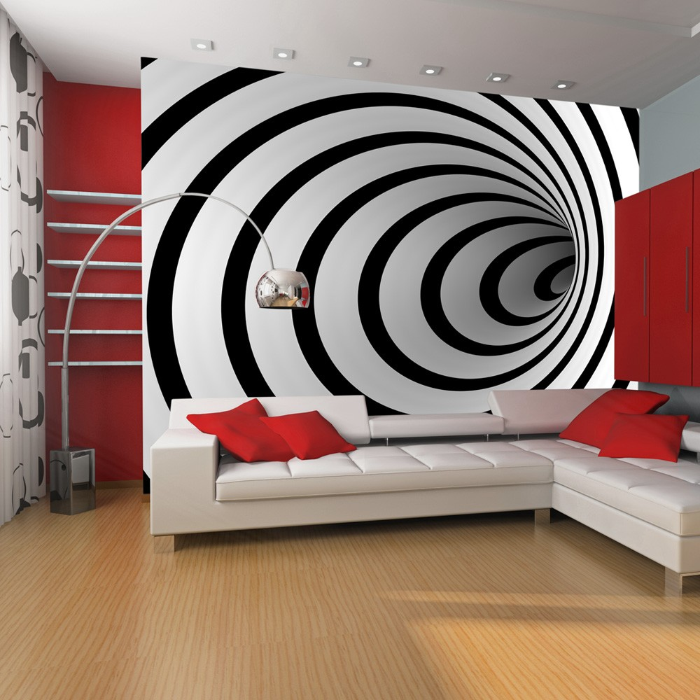 Wallpaper Black And White 3d Tunnel 3d Wallpaper Murals Uk
